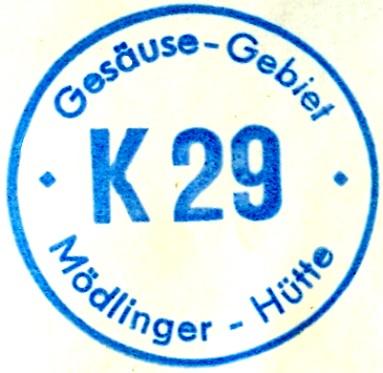 Mödlinger Hütte Hüttenstempel