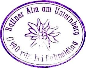 Raffner Alm, Hüttenstempel
