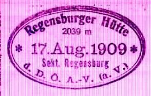 Regensburger Hütte, Hüttenstempel