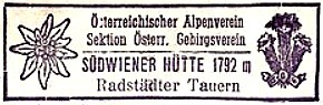 Südwiener Hütte, Hüttenstempel
