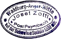 Waldburg Anger Hütte, Hüttenstempel