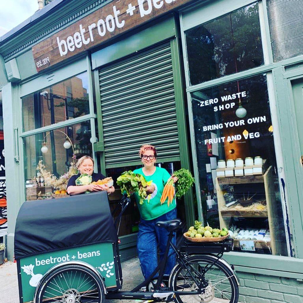 cargo bike delivering groceries