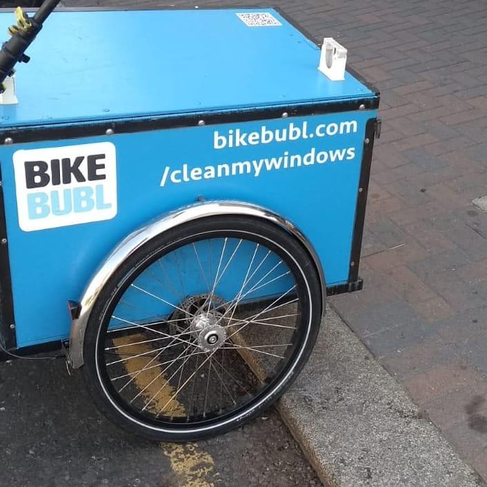 Bike Bubl window cleaner on cargo bike