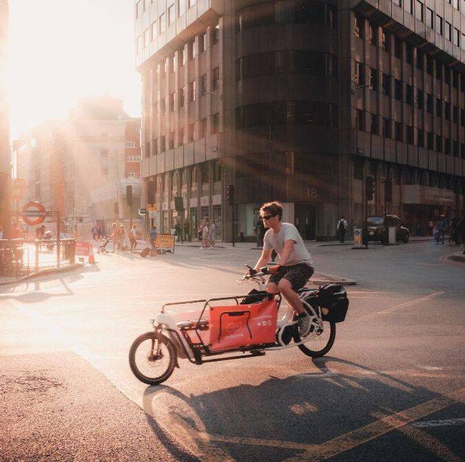 Cargo bike on London road