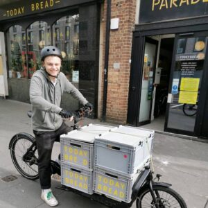 london bakery delivering bread by bike