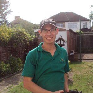 Gardener on a bike London
