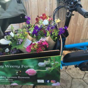 Florist delivering by cargo bike Scotland