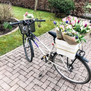 Flowers delivered by bike