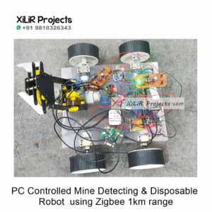 PC Controlled Mine Detecting & Disposable Robot using Zigbee 1km range Project