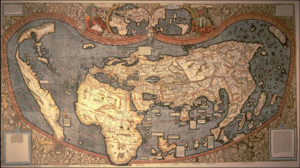 Universalis Cosmographia, Waldseemüller's 1507 world map which was the first to show the Americas separate from Asia