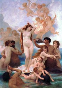 Aphrodite pictured standing in a sea shell and with 2 dolphins at her feet. 'The Birth of Venus' by William Adolphe Bouguereau