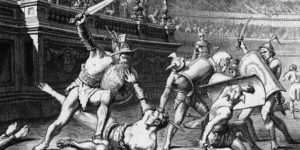 Etching showing Roman gladiators vanquishing their opponents.