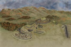 Reconstruction of the royal stronghold atop Trusty's Hill as it may have appeared c. AD 600.