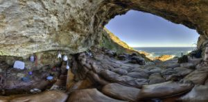 A panoramic view shows the inside of Blombos Cave, where scientists have discovered a variety of early human artifacts.