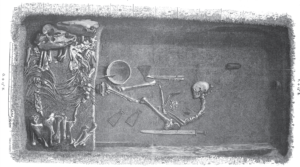 This is how the grave on Birka might have looked like where the female warrior was buried. Illustration by Evald Hansen based on the original plan of grave Bj 581 from Hjalmar Stolpe's excavations at Birka in the late 19th century. (Stolpe 1889).