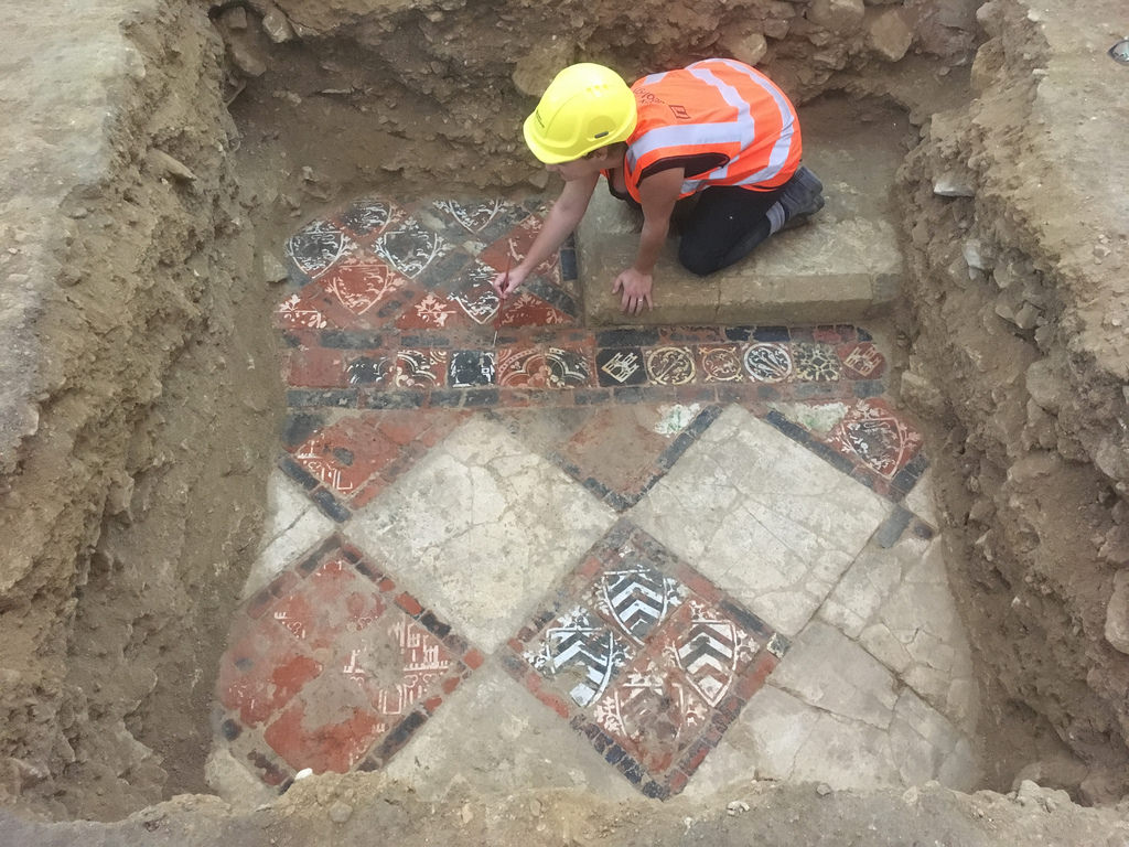Decorated medieval tiles found under Bath Abbey in England