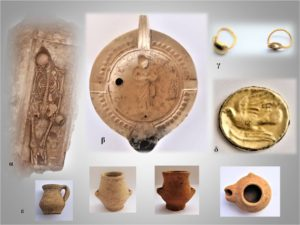 Remains from part of a cemetery unearthed at Tenea held a burial, a ceramic vessel with engraving of a woman, the remains of a gold ring, a gold coin with a bird engraved on it and several pieces of pottery.