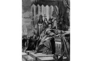The coronation of William, Duke of Normandy (also known as William the Conqueror) taking place amidst protests. The king holds his crown and a sword as he watches the turmoil in the church. Original artist: John Cross.