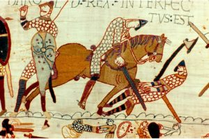 A scene from the Bayeux Tapestry showing the death of Harold II. The long-established story is that the king was killed by an arrow which struck him in the eye – but there are reasons to doubt that he really did die this way, says historian Marc Morris.