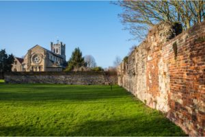 A view of the historic Waltham Abbey Church in Waltham Abbey, Essex. King Harold II, who died at the battle of Hastings in 1066, is believed by some to have been buried in the churchyard.