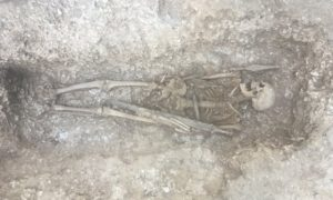 This 6th century Saxon warrior with spear and sword, was found underneath a military trackway, frequently crossed by tanks and huge military vehicles