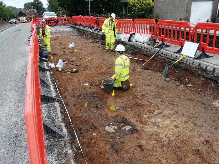 The remains of a Roman extramural settlement and road, associated with the fort of Bravoniacum, were found near Kirkby Thore in Cumbria. (PHOTO: GUARD Archaeology Ltd)