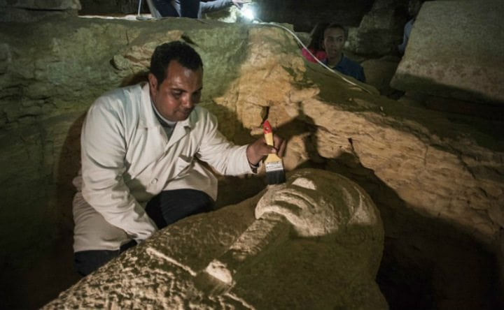 At least 40 limestone sarcophagi that held mummified burials were discovered in the cemetery. One of them is pictured here.