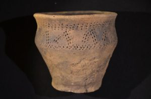 This ceramic jar was found in the grave of the woman in the tomb. The style has been identified as originating in a part of the Baltic far to the east of the central Jutland region in Denmark, where the tomb was discovered.