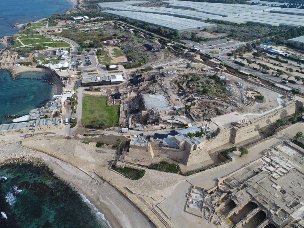Aerial photos of the ancient port at Caesarea.