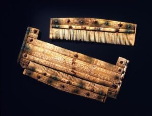 This decorated comb, carved from an antler, was found in a warrior's grave in Niederstotzingen, Germany.