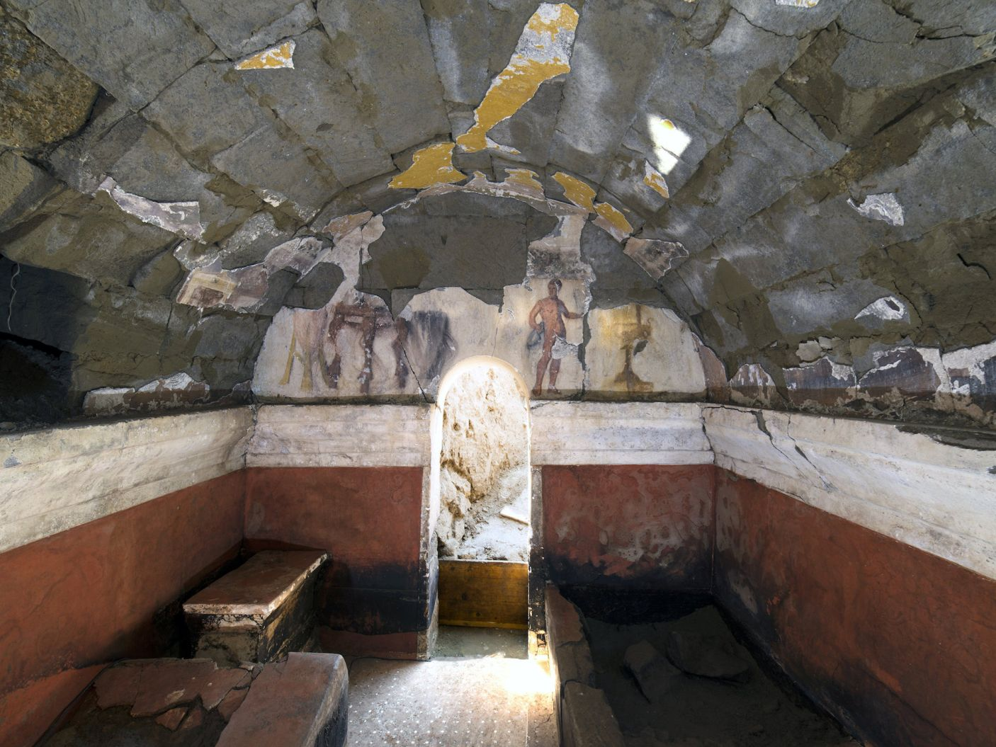 View of the intriguing wall from inside the tomb chamber