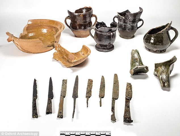 A treasure trove of artefacts uncovered in Oxford has revealed what life was once like at the city's prestigious university. In one of Britain's largest ever urban excavations, experts have found carving knives (bottom), cooking pots (top left) and ceramic beer mugs (top right)