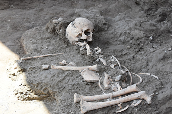 The skeleton of the child, thought to be aged seven or eight, found at Pompeii