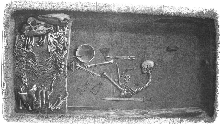 A 19th-century illustration depicts Bj 581, a Viking Age warrior grave in Birka, Sweden. The individual, confirmed in 2017 as female, was buried with weaponry and horses.