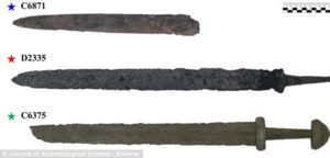 The three swords used for analysis (pictured). The top sword was found in Skanderborg, the middle sword in Randers and the bottom sword in Viborg