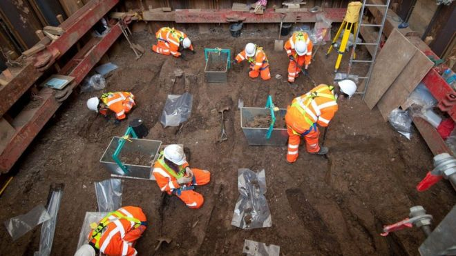 Over 200 archaeologists and specialists are working at the site beside Euston Station