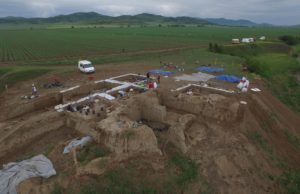 A view of the excavations at Gadachrili Gora in Georgia, taken by a drone.