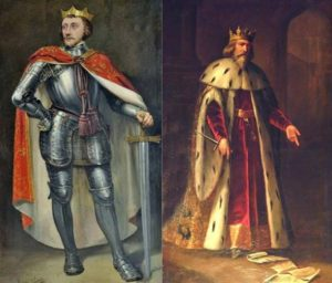 Left: Peter of Castile. Right: Peter IV of Aragon.