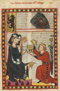 A cup bearer – Codex Manesse, UB Heidelberg, Cod. Pal. germ. 848, fol. 205r: Herr Konrad, der Schenk von Landeck