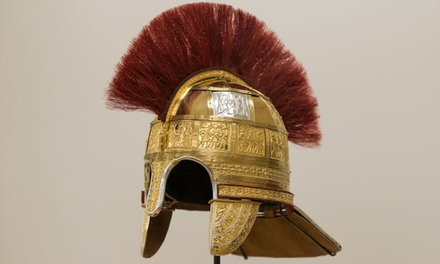 A reconstruction of a helmet found in the Staffordshire hoard, at the Birmingham Museum and Art Gallery.