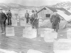 Norwegian ice cutters handle blocks of ice harvested from frozen lakes, circa 1900.