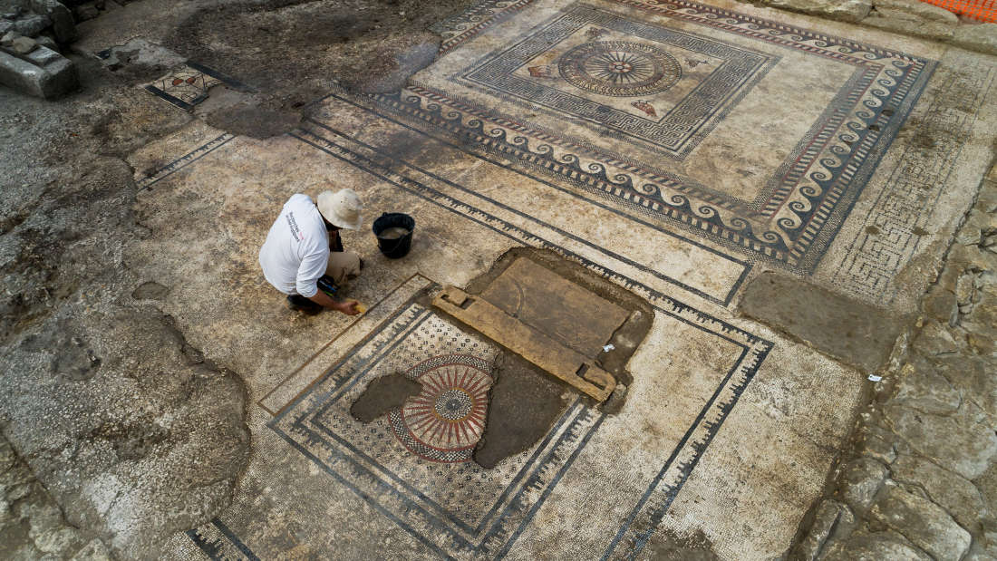 One of the most impressive finds was a mosaic floor, dating back second half of the 1st century B.C., discovered in the ruins of what's thought to be a Roman public building.