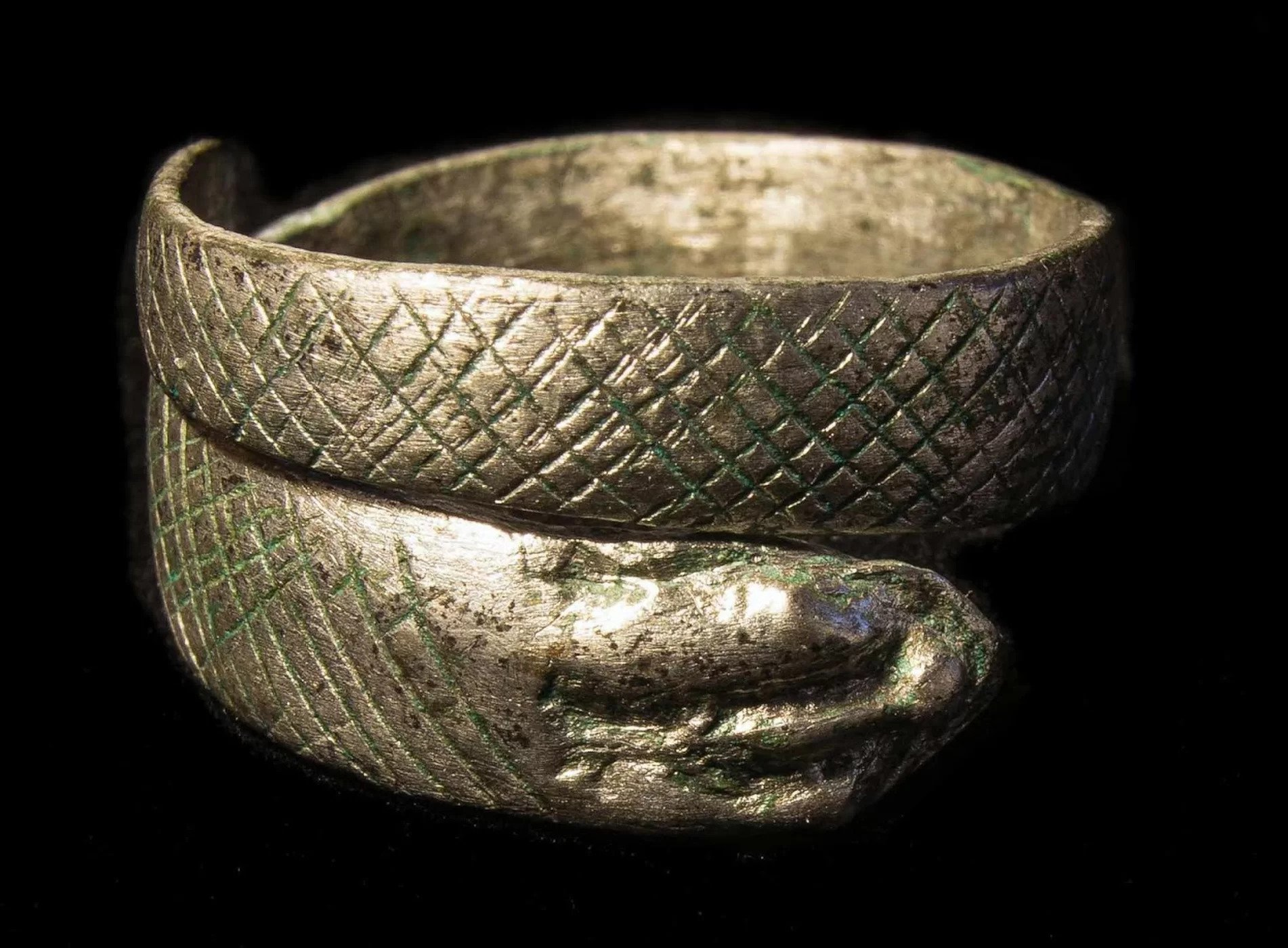 A rare silver ring shaped like a snake that wraps around the finger hints at the great wealth of the people who lived at Cataractonium.