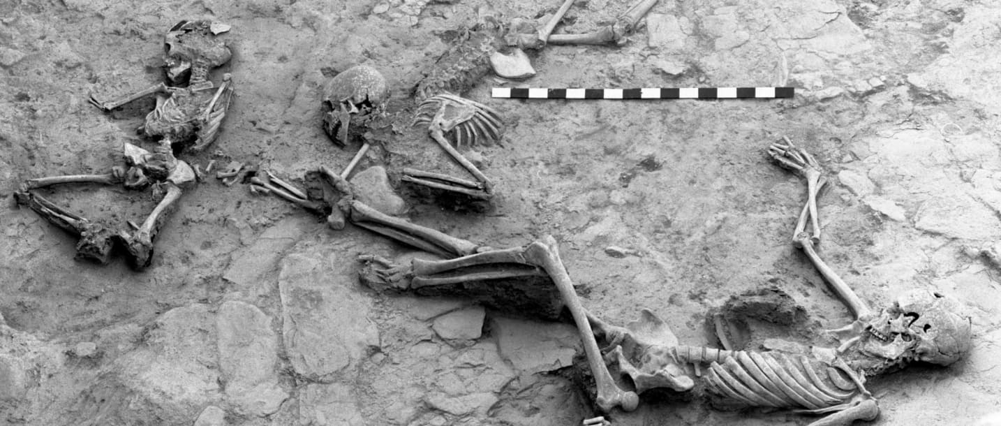 Skeletons of people killed in the massacre of Hasanlu's inhabitants around 800 B.C.E.