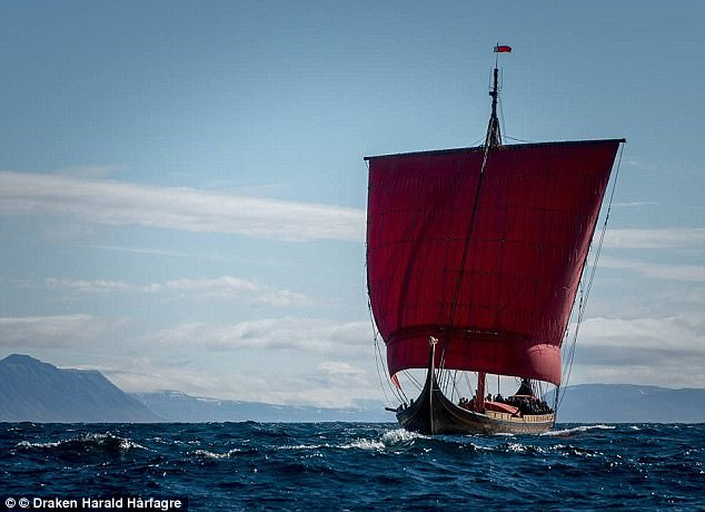 New research shows Europe-wide fish tradition has been going on for more than a thousand years, and was started by Norwegian fishermen. Pictured is the Viking 'dragon' vessel, a real-life reconstruction of a Viking ship