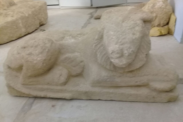 A lion statue discovered at Graeco-Roman temple near Egypt's Siwa Oasis