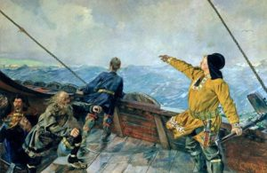 "Leiv Eriksson oppdager Amerika (""Leif Erikson discovers America"") by Christian Krogh, 1893."