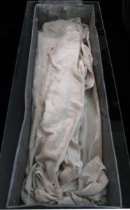 View inside the lead sarcophagus