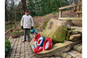 Tony Foulds, 82, at the 'Mi Amigo' plane crash memorial in Endcliffe Park in Sheffield, which he has tended for nearly 75 years. (Photo courtesy of Dan Walker)