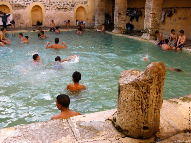 "The Rectangular Pool at the Roman thermal bath Aquae Flaviane ""Hammam Essalhine"", Aurès Khenchela province, Algeria."